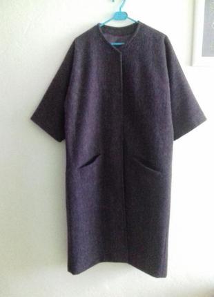 Супер стильное шерстяное пальто-кимоно с рукавами 3/42