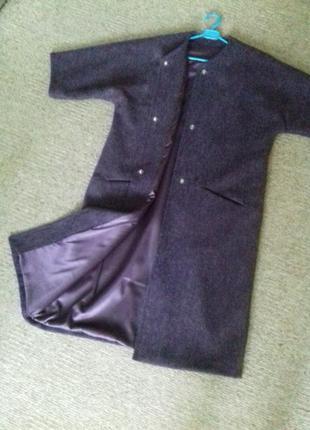 Супер стильное шерстяное пальто-кимоно с рукавами 3/45