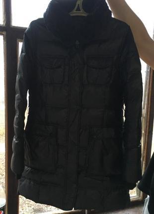 Черная куртка зимняя зефирка ovs пуховик с мехом2