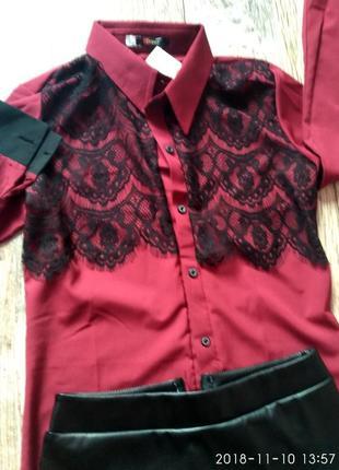Костюм блуза и юбка миди кожа2