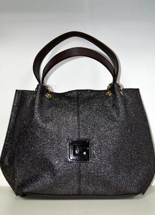 Стильная сумка-торба через плечо с 3 d принтом угольная крошка коричневого цвета1