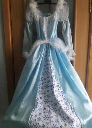 Карнавальное костюм голубой  принцессы, платье снежинки,  волшебницы