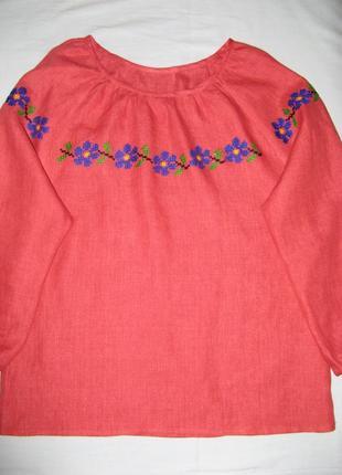 Вышитая сорочка льняная, вышиванка красная - незабудка, ручная  вышивка2