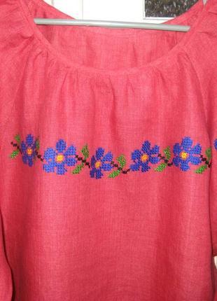 Вышитая сорочка льняная, вышиванка красная - незабудка, ручная  вышивка3