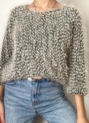 Свитшот свитер пушистый травка размер s-m1