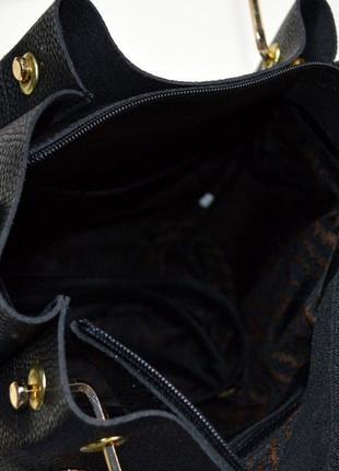 Сумка женская из  хорошей экокожи и  черного-серого  цвета среднего размера5