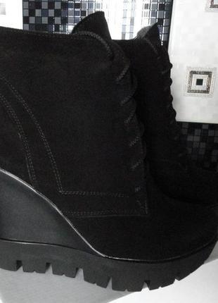 Натуральные замшевые зимние ботинки!1