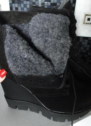 Натуральные замшевые зимние ботинки!3