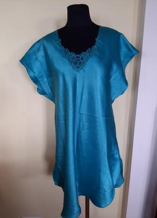 Ночная рубашка ночнушка бирюза.кружево f&f  раз.42-442