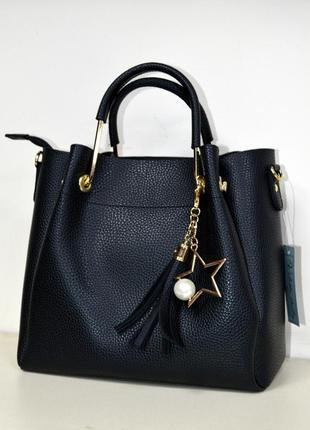 Женская сумка маленькая черная матовая экокожа с плечевым ремешком1