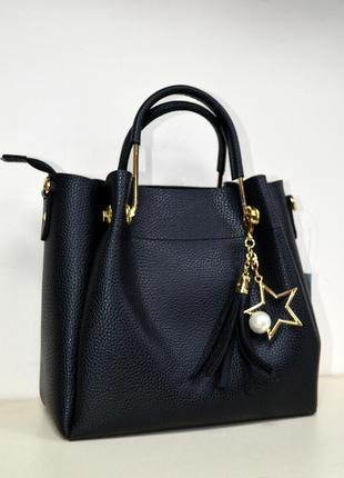 Женская сумка маленькая черная матовая экокожа с плечевым ремешком2
