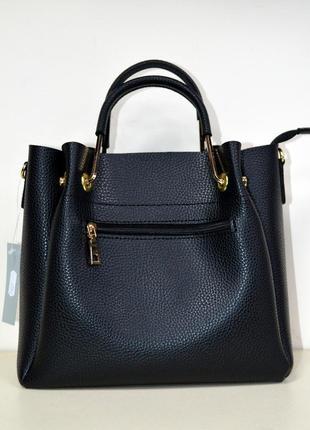 Женская сумка маленькая черная матовая экокожа с плечевым ремешком3