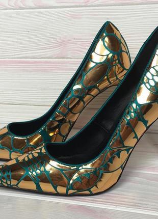 Эксклюзивные дизайнерские атласные туфли лодочки изумруд с золотом asos 39р 25см4