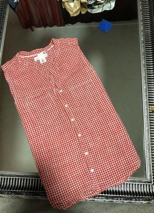 Рубашка без рукавов , клетка , хлопок india2