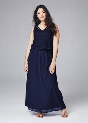 🍒нарядное шифоновое платье с кружевом р 24 - 26 на рост 180 + бренд  junaroze англия🍒1