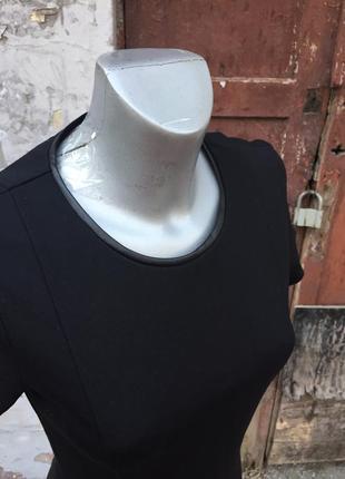 Идеальное маленькое чёрное платье от известного бренда massimo dutti отделка кожа3
