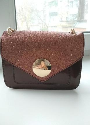 Крутая коричневая сумка через плечо с блёстками1