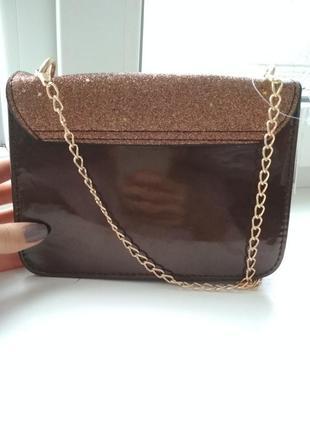 Крутая коричневая сумка через плечо с блёстками3