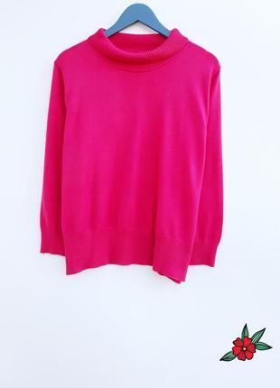Яркий малиновый свитер плотный свитер с горлом и камнями большой размер1