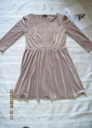 Новогодний наряд! модное бархатное платье с золотистыми паетками всего за 199 грн.