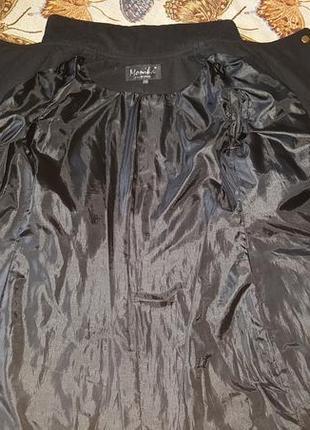 Стильное демисезонное пальто с кожаными вставками 42-50р5