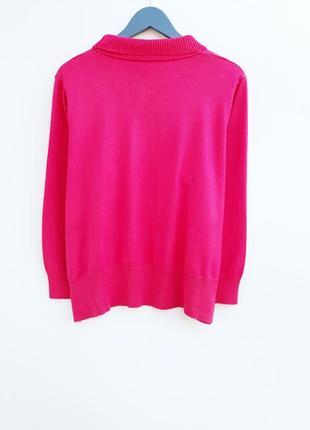 Яркий малиновый свитер плотный свитер с горлом и камнями большой размер2