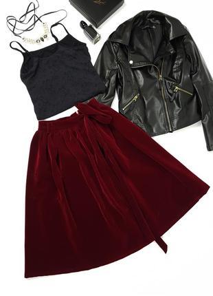 Новая бархатная юбка длины миди осень осенняя зима размер с4