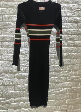 Облягаюче трикотажне плаття у полоску, чорний колір1