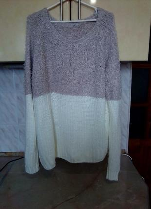 Брендовый теплый удлиненный джемпер, свитер, верх травка, низ вязка3