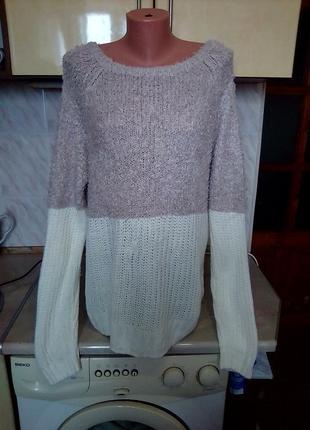 Брендовый теплый удлиненный джемпер, свитер, верх травка, низ вязка1