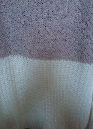 Брендовый теплый удлиненный джемпер, свитер, верх травка, низ вязка4