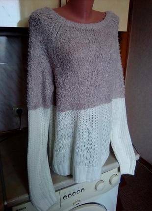 Брендовый теплый удлиненный джемпер, свитер, верх травка, низ вязка2