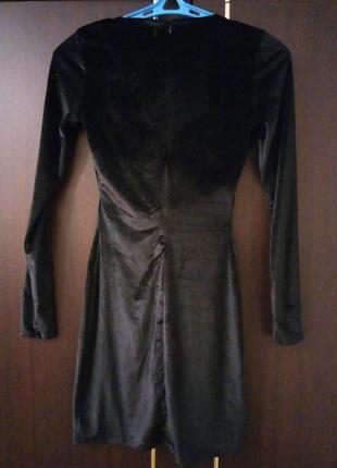 Женское черное велюровое платье2