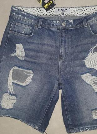 Крутые рваные джинсовые шорты-бойфренды only - 31 р-р - примерно на 12, 12-143