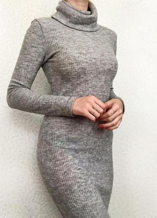 Теплое длинное  платье размер s1