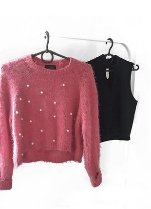Укорочённый свитер травка с бусинками1