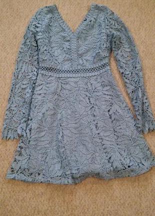 Платье с прошвыс длинным рукавом boohoo,р-р 124