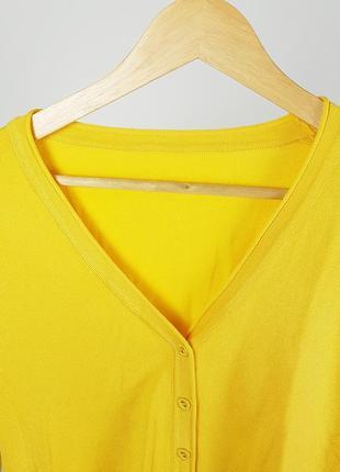 Новая желтая кофта на пуговицах кардиган5