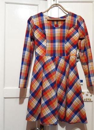 Платье в клетку ручной работы1