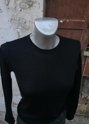 Чёрный лонгслив кофта гольф тёплая зимняя шерсть2