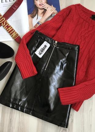 Трендовая лаковая юбка1