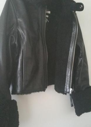 Куртка кожаная дубленка h&m3