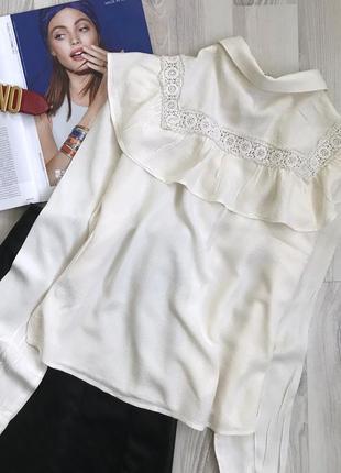 Красивая укорочённая блуза с воланами и кружевом4