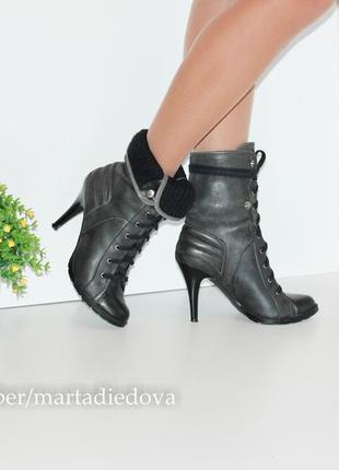 Кожаные ботинки полусапожки ботильоны, натуральная кожа, бренд river island