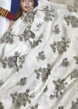 Красивая рубашка с воланами цветочный принт4