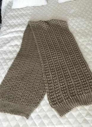 Вязаный бежево коричневый шарф длинный2