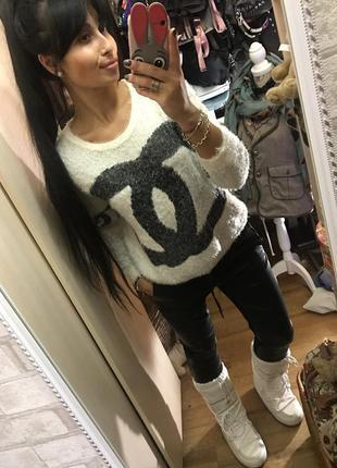 Эффектный белый свитер травка шанель /chanel