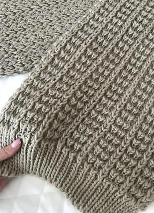 Вязаный бежево коричневый шарф длинный3