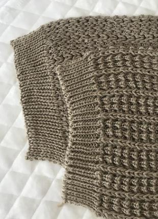 Вязаный бежево коричневый шарф длинный4