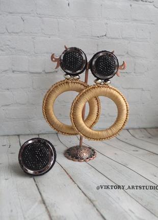 Комплект украшений серьги кольца и кольцо возможны с клипсой